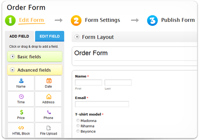 web order form template